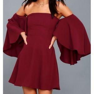 Lulu's off shoulder red wine dress